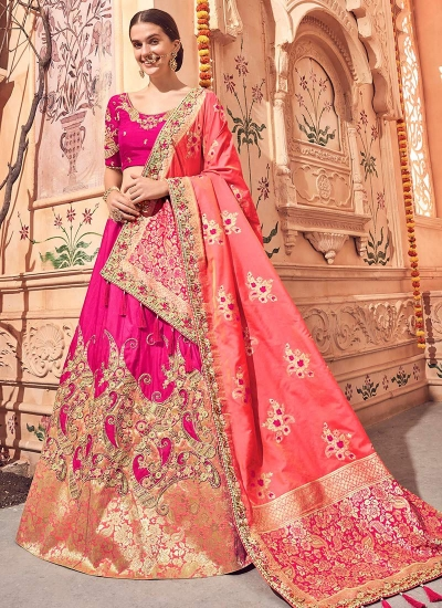 Pink Banarasi silk wedding lehenga choli