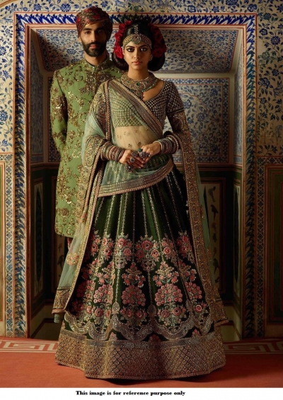 Bollywood Sabyasachi Inspired Pine green Thai silk lehenga