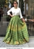 Bollywood Tina Dutta Wihte and green banglori silk lehenga
