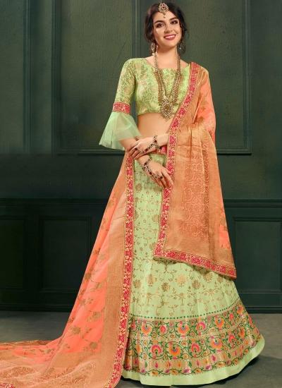 Green color silk Indian wedding lehenga choli 601