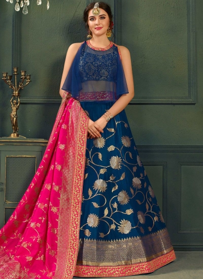 Blue color silk Indian wedding lehenga choli 605