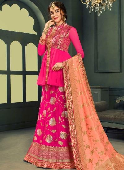 Gajri color silk Indian wedding lehenga choli 606