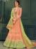 Peach color silk Indian wedding lehenga choli 609