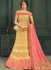 Yellow color silk Indian wedding lehenga choli 610