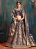 Navy blue pure banarasi silk Indian wedding lehenga choli 62002