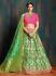 Green pink pure banarasi silk Indian wedding lehenga choli 62006