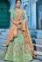 Mint green silk Indian wedding lehenga choli 1001