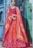 Peach and orange silk Indian wedding lehenga choli 1002