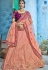 Peach purple silk Indian wedding lehenga choli 1005
