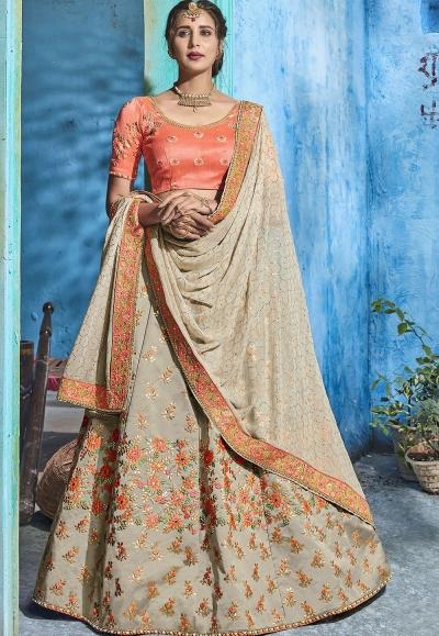 Grey silk Indian wedding lehenga choli 1010