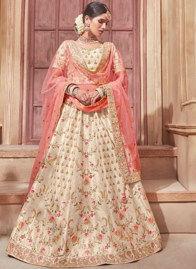 Cream peach banglori silk Indian wedding lehenga choli 4603