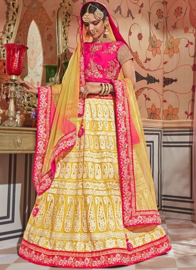 Yellow Gajri net Indian wedding lehenga choli 4604