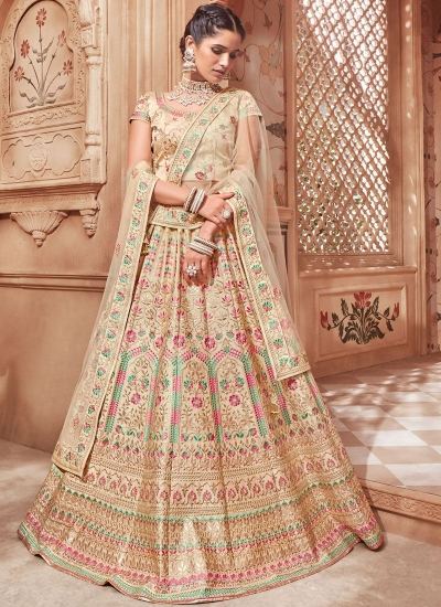 Cream color satin Indian wedding lehenga choli 4606