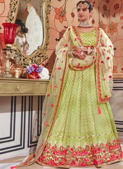 Green color net Indian wedding lehenga choli 4609