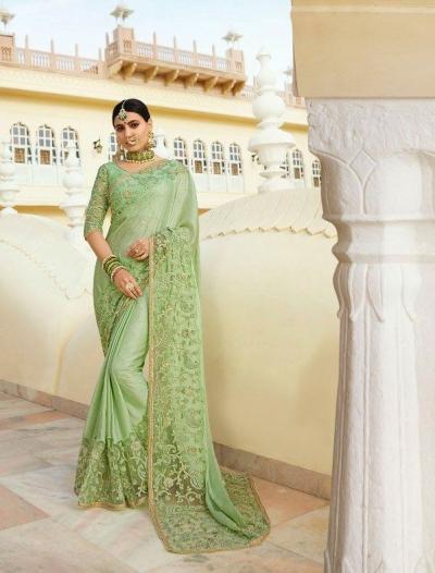 Pista green silk Indian wedding wear saree 5001