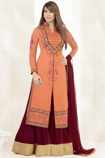 Bipasha Basu Peach and Maroon Georgette  Lehenga Dress