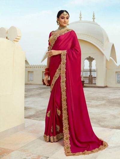Pink silk Indian wedding wear saree 5011