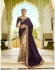 Beige purple silk Indian wedding wear saree 5012