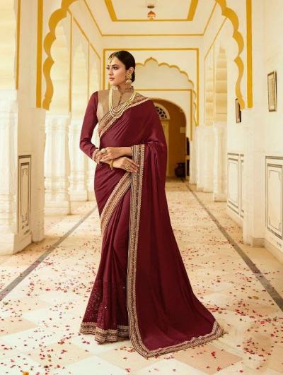 Maroon silk Indian wedding wear saree 5016