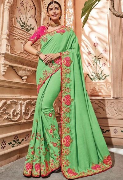 Liril green silk Indian wedding wear saree 1901
