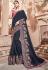 Navy blue silk Indian wedding wear saree 1903
