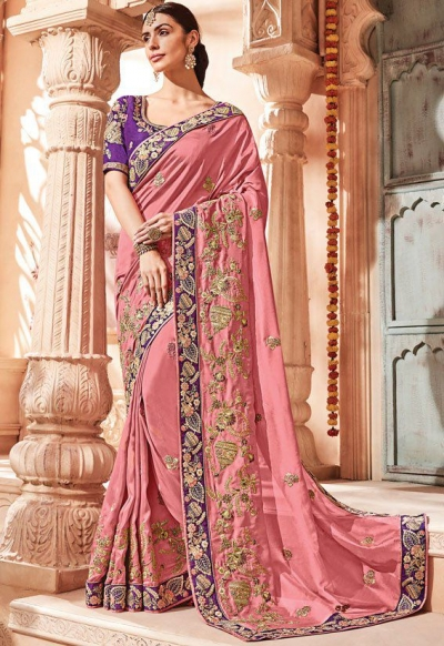 Light Pink silk Indian wedding wear saree 1905