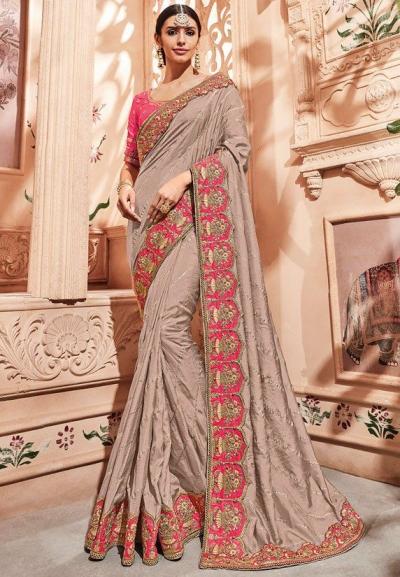 Beige silk Indian wedding wear saree 1906
