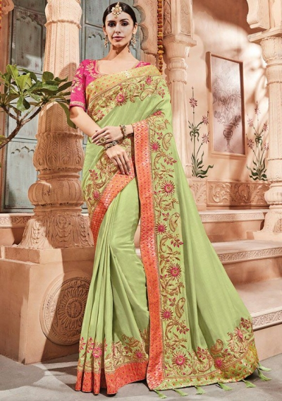 Pista green silk Indian wedding wear saree 1909