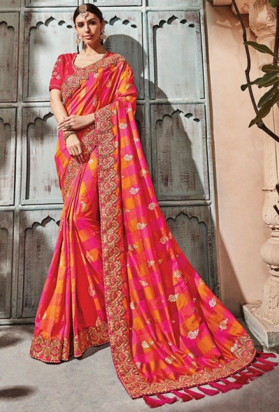 Peach pink check silk Indian wedding wear saree 1914