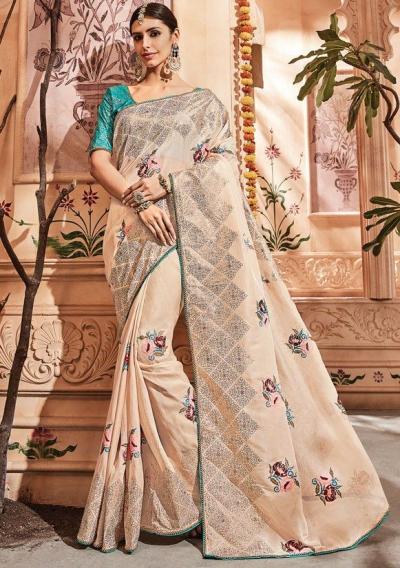 Dusty silk Indian wedding wear saree 1915
