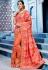 Orange and pink color silk Indian wedding wear saree 1104