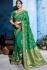 Green color silk Indian wedding wear saree 1107