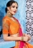 Orange and pink color silk Indian wedding wear saree 1108