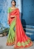 Salmon green color silk Indian wedding wear saree 1109