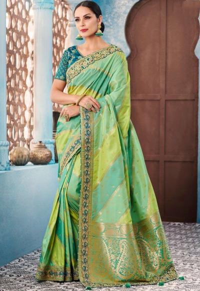 Pista green stripes Indian wedding wear silk saree 7001
