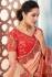 Peach color Indian wedding wear silk saree 7002