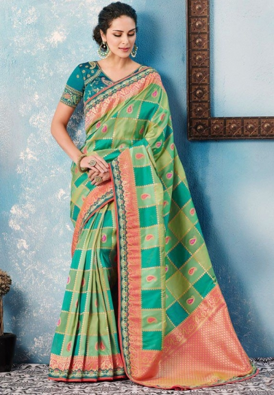 Teal rama green checked Indian wedding wear silk saree 7005