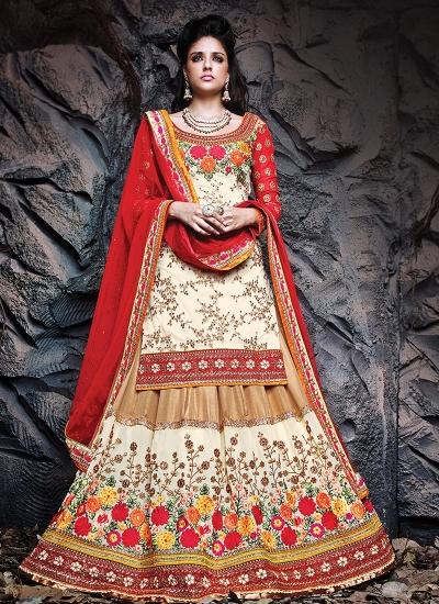 Exceptional Floral And Jaal Work Designer Lehenga Choli