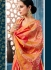 Pink yellow checked Indian wedding wear silk saree 7006