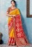 Red and yellow Indian wedding wear silk saree 7007