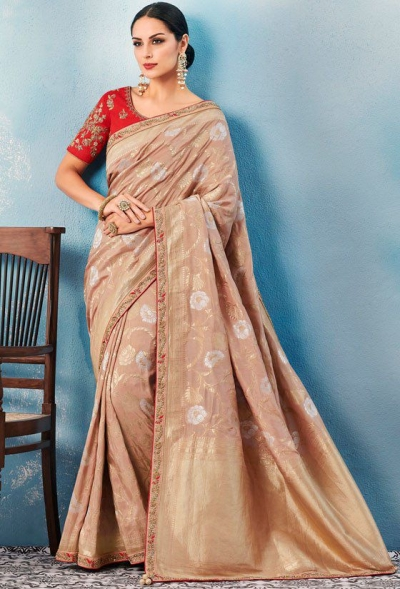 Beige Indian wedding wear silk saree 7008