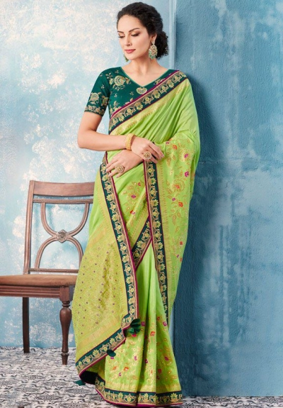 Liril green Indian wedding wear silk saree 7009