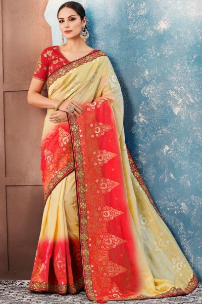 Off white red Indian wedding wear silk saree 7011