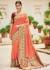 Peach banarasi weaving silk Indian wedding saree 1002