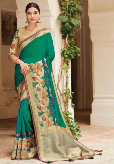 Green banarasi weaving silk Indian wedding saree 1003