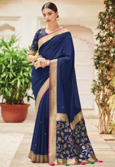 Blue banarasi weaving silk Indian wedding saree 1005