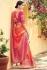Peach banarasi weaving silk Indian wedding saree 1007