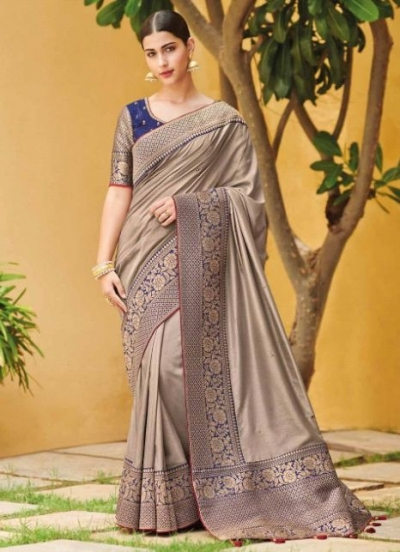 Grey banarasi weaving silk Indian wedding saree 1009