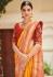 Yellow banarasi weaving silk Indian wedding saree 1010
