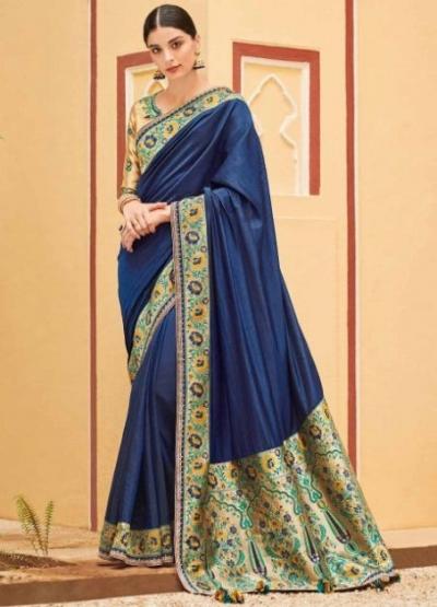 Blue banarasi weaving silk Indian wedding saree 1016